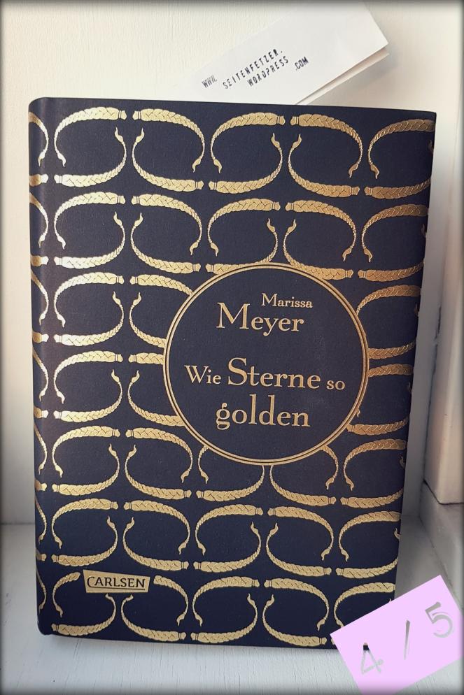 Buch: Wie Sterne so golden. Das Cover hat ein sich wiederholendes Muster goldener Zöpfe.